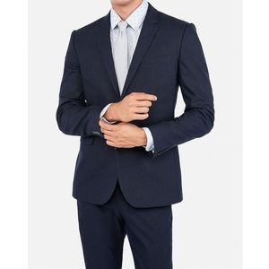 Express Extra Slim Navy Cotton Blend Suit Jacket
